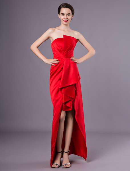 Milanoo Cocktail Dresses Satin Red Asymmetrical Sheath Pleated Wedding Guest Dress