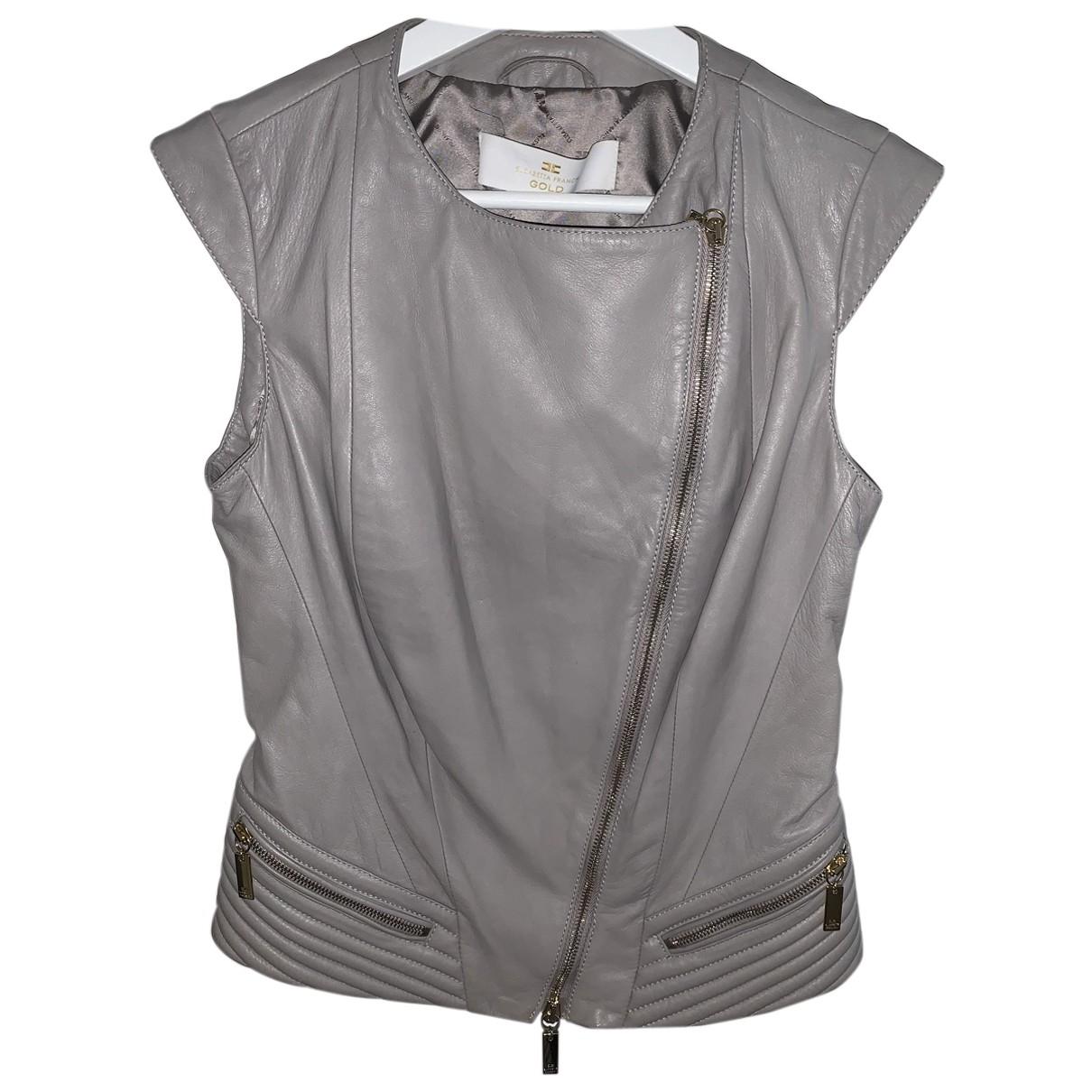 Elisabetta Franchi N Grey Leather jacket for Women 42 IT