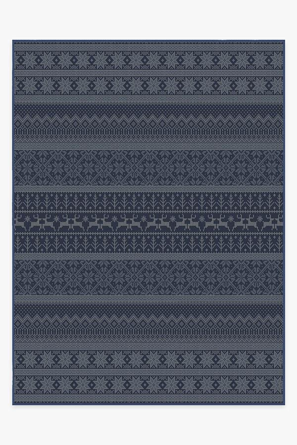 Washable Rug Cover & Pad | Fair Isle Blue Rug | Stain-Resistant | Ruggable | 9x12