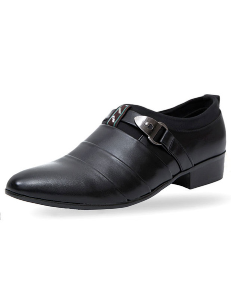 Milanoo Señalo Toe PU de cuero zapatos de vestir para hombres