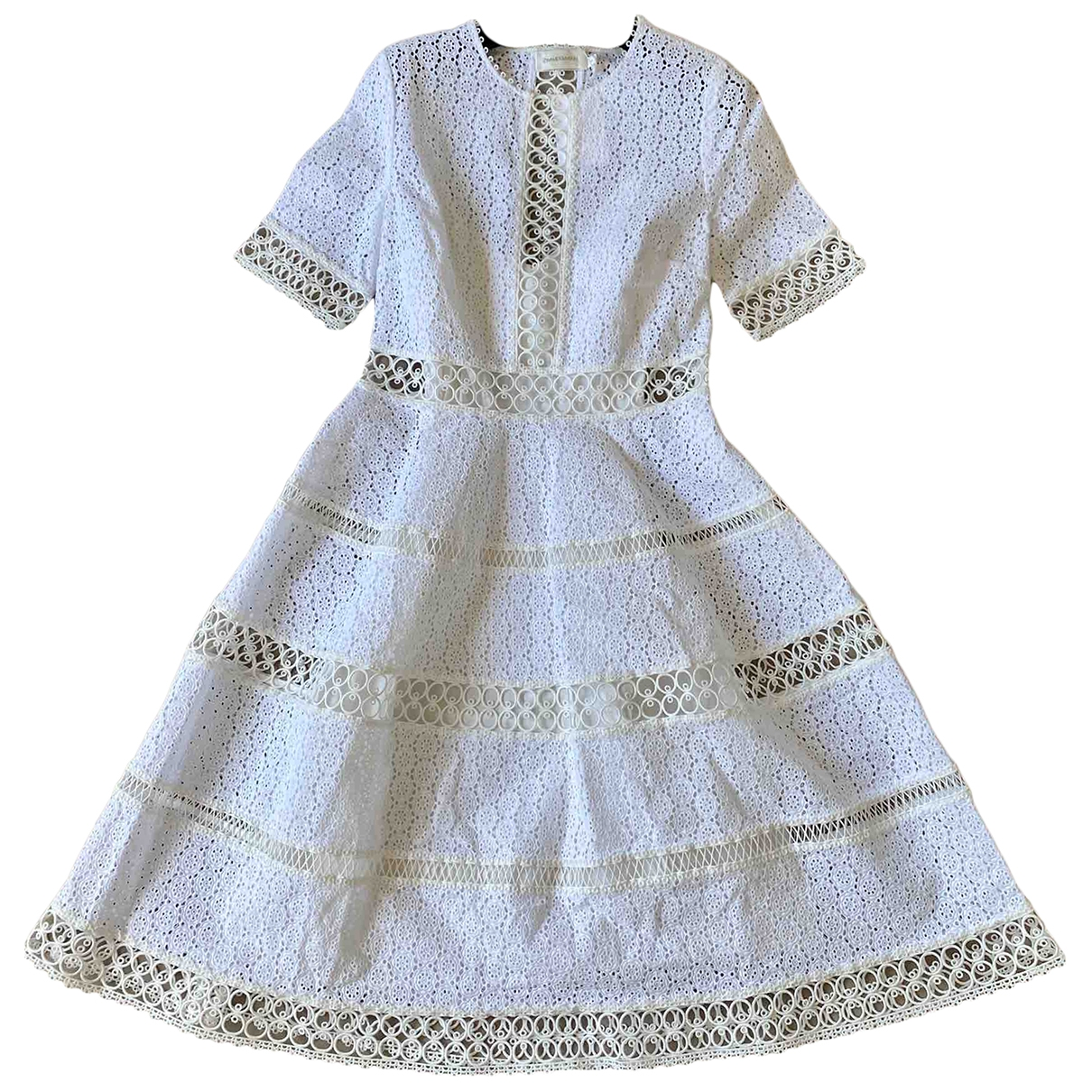 Zimmermann \N Kleid in  Weiss Baumwolle