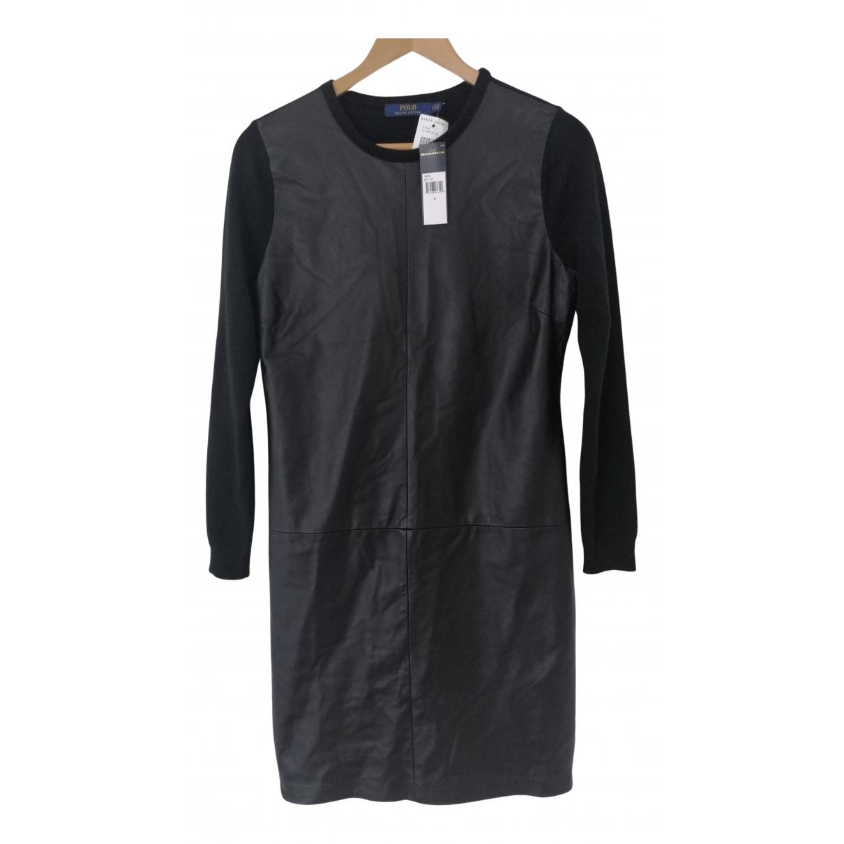 Polo Ralph Lauren - Robe   pour femme en cuir - noir