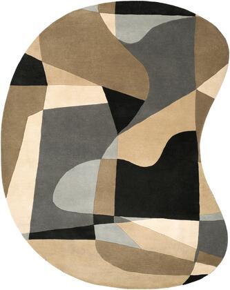 Forum FM-7196 6' x 9' kidney Modern Rug in Medium Gray  Light Gray  Beige  Black  Khaki  Sea