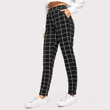 Elastic Waist Slant Pocket Grid Pants