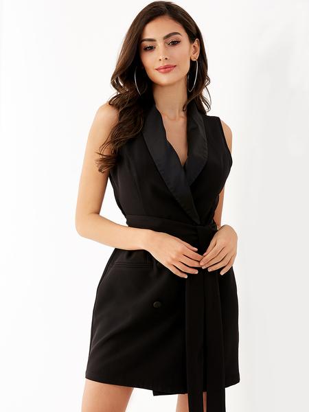 YOINS Black V-neck Belt Design Sleeveless Wrap Dress