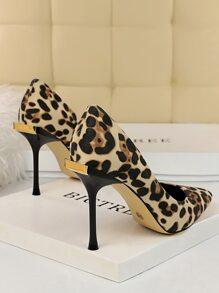 Leopard Ultra High Heeled Court Pumps