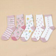 5 Paare Socken mit Obst Muster