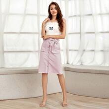 Button Front Raw Hem Belted Denim Skirt
