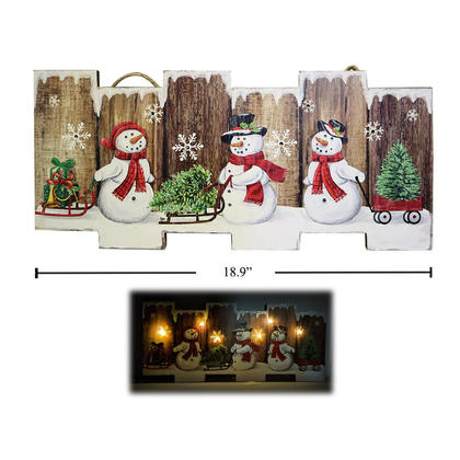 Deco N. Christmas Light-Up 18,9 '' Snowman LED Décoration murale