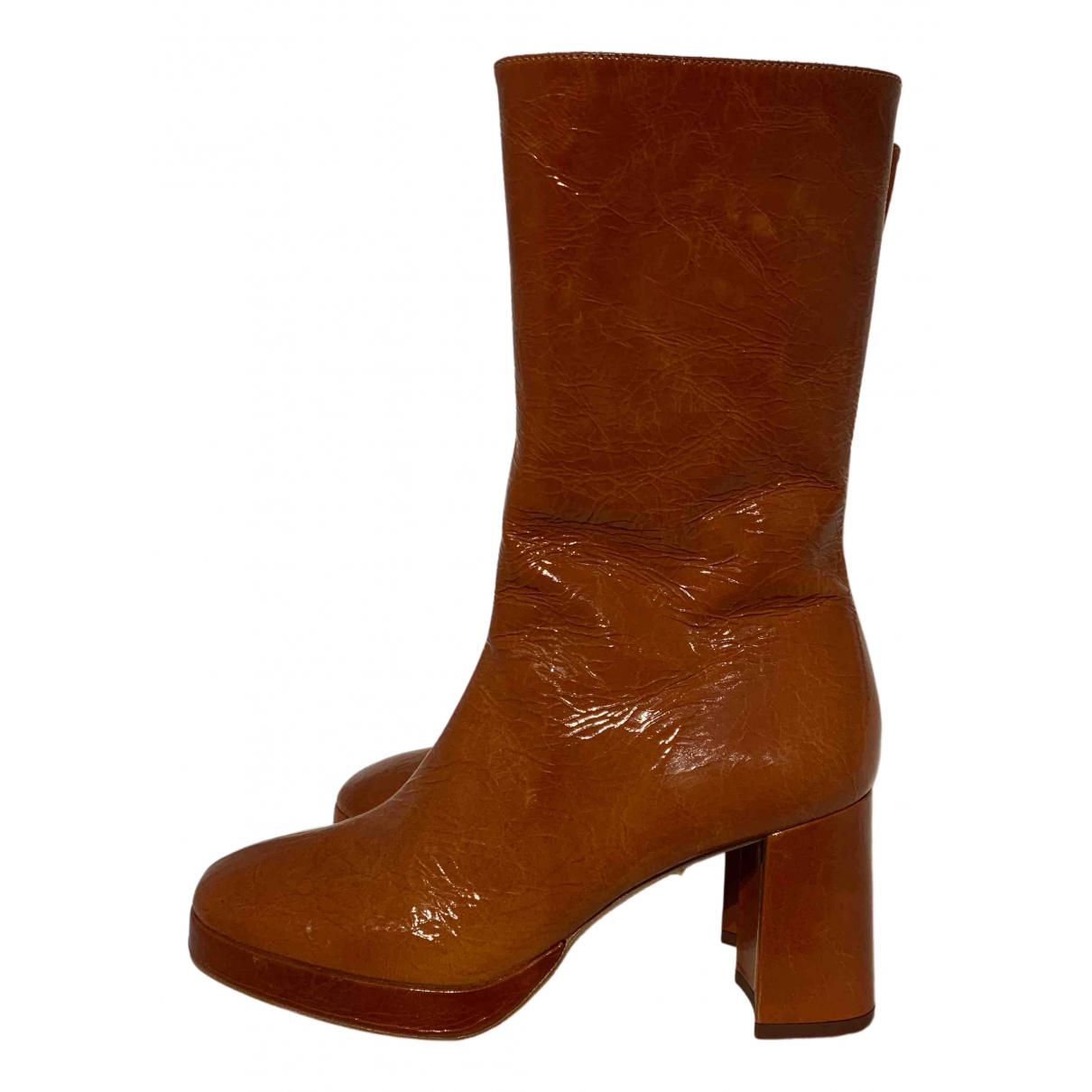 Miista - Boots   pour femme en cuir - camel