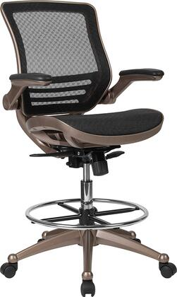 BL-LB-8801X-D-GG Drafting Chair with Adjustable Height  Swivel Base  Casters  Padded Flip-Up Arms  Tilt Tension Adjustment Knob  Chrome Foot Ring and