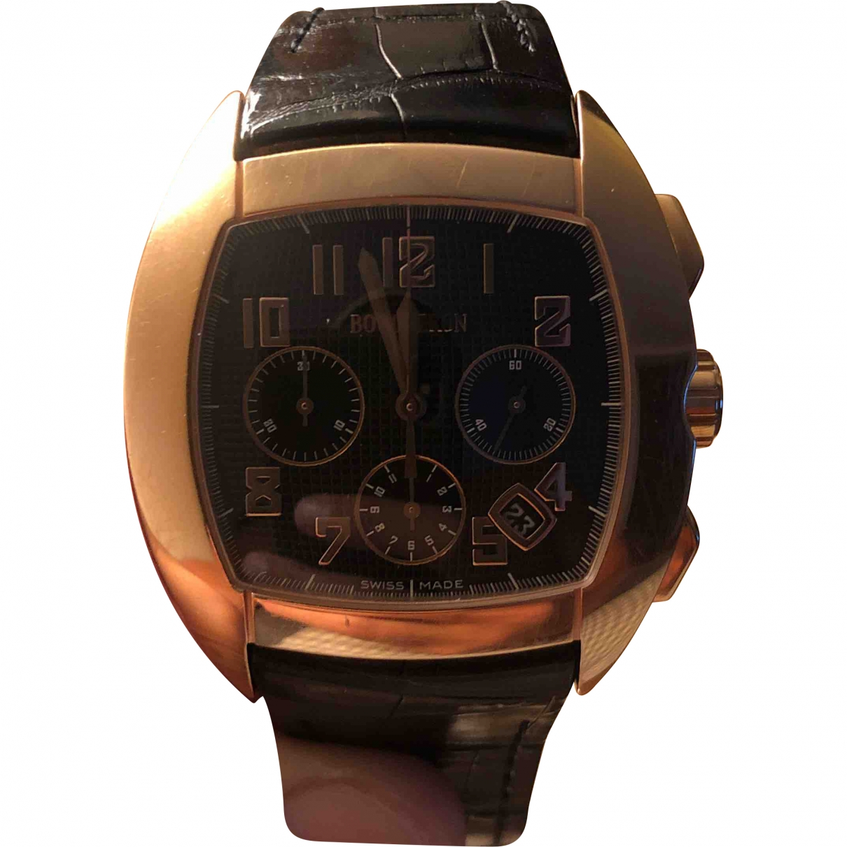 Boucheron \N Black Pink gold watch for Men \N