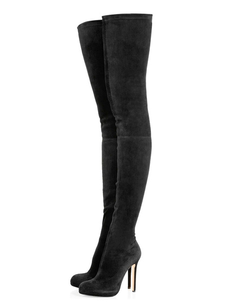 Milanoo Black Thigh High Boots Womens Micro Suede Round Toe Stiletto Heel Over The Knee Boots