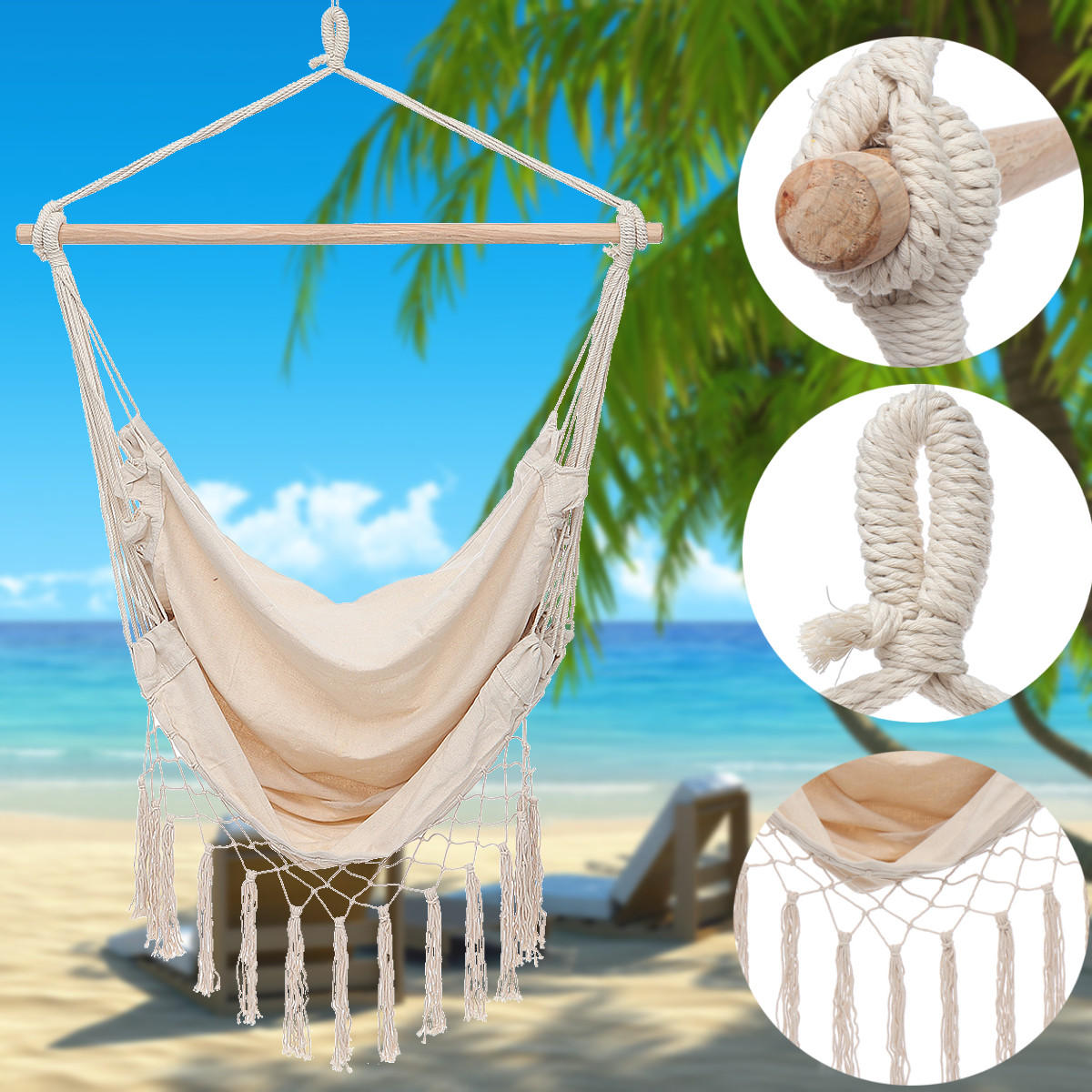 Canvas Swing Hanging Hammock Chair Cotton Rope Tassel Tree Chair Seat Patio Outdoor