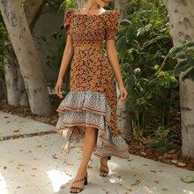 Puff Sleeve Frill Trim Shirred Floral Top & Asymmetrical Ruffle Hem Skirt Set
