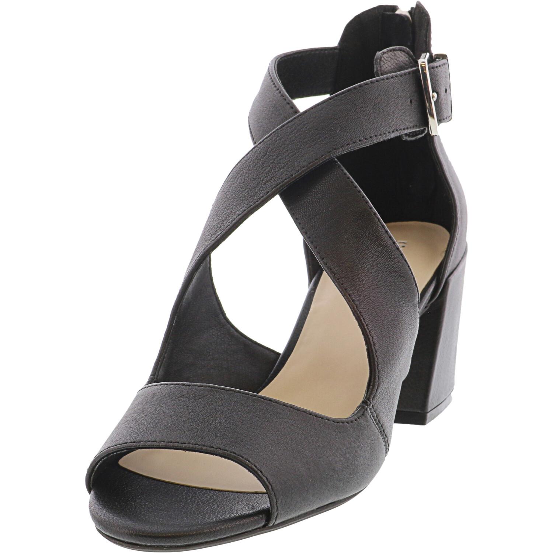 Kenneth Cole Women's Hannon Criss Cross Black High-Top Leather Heel - 9.5M