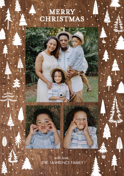 Christmas Photo Cards 5x7 Cards, Premium Cardstock 120lb with Elegant Corners, Card & Stationery -Christmas Gold Trees by Tumbalina