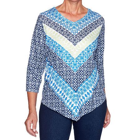 Alfred Dunner Vacation Mode-Womens Scoop Neck 3/4 Sleeve T-Shirt, Medium , Blue