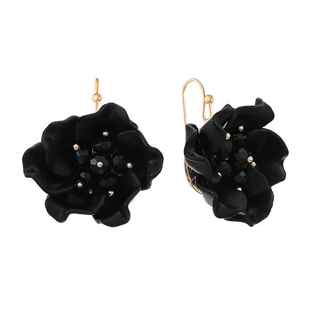 Mixit Black Flower Drop Earrings, One Size , Black