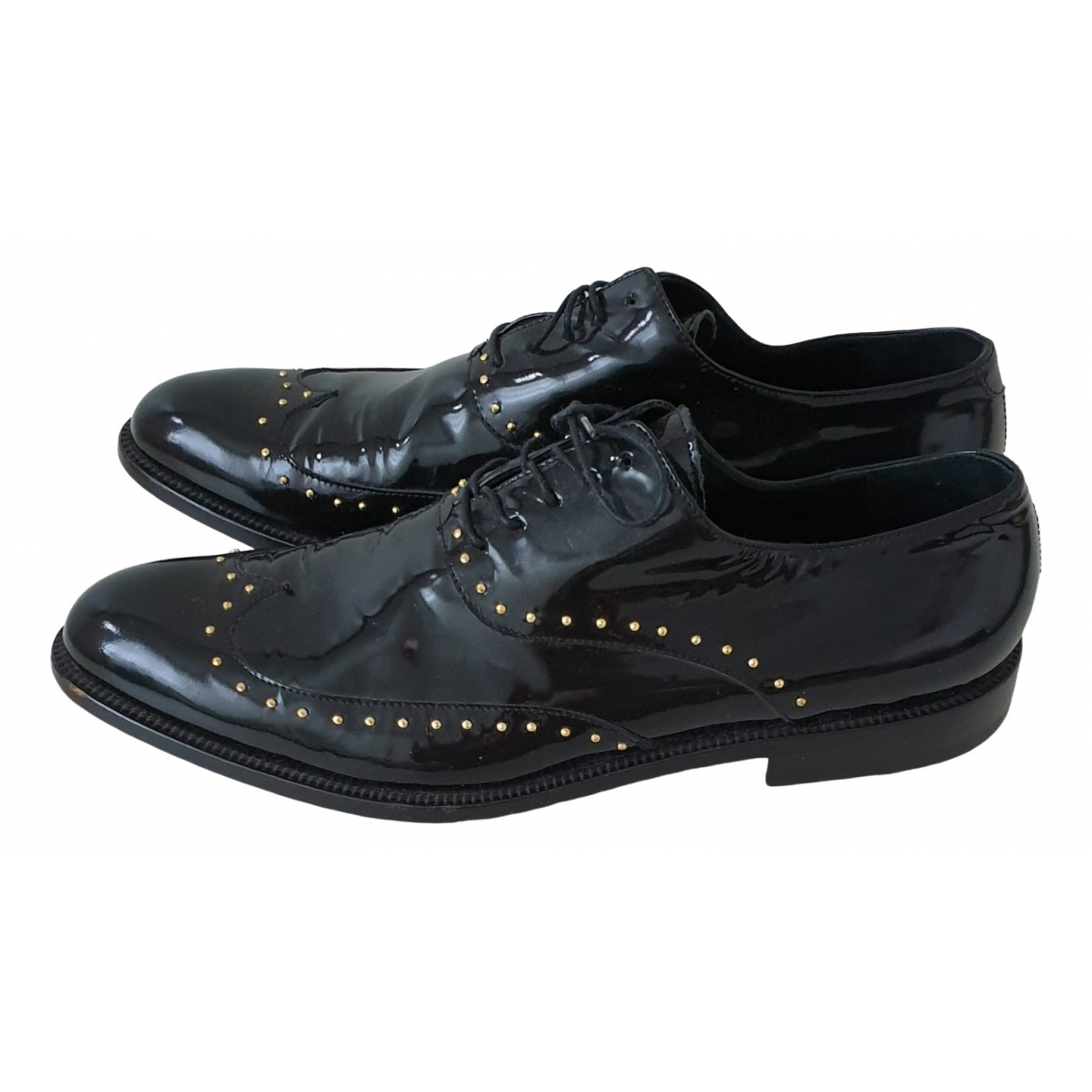 Versace \N Black Patent leather Lace ups for Men 44 EU