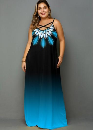 Plus Size Tribal Print Gradient Pocket Dress - 3X