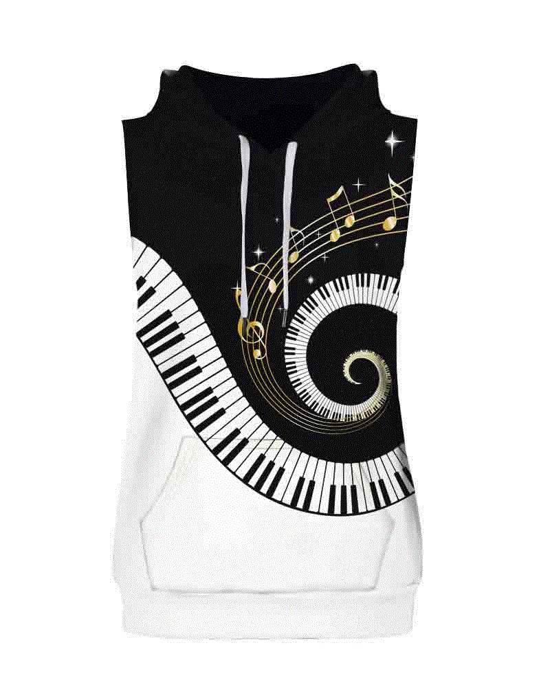 Piano Key Pattern Sleeveless Pullover Hooded Men Fashion T-shirt