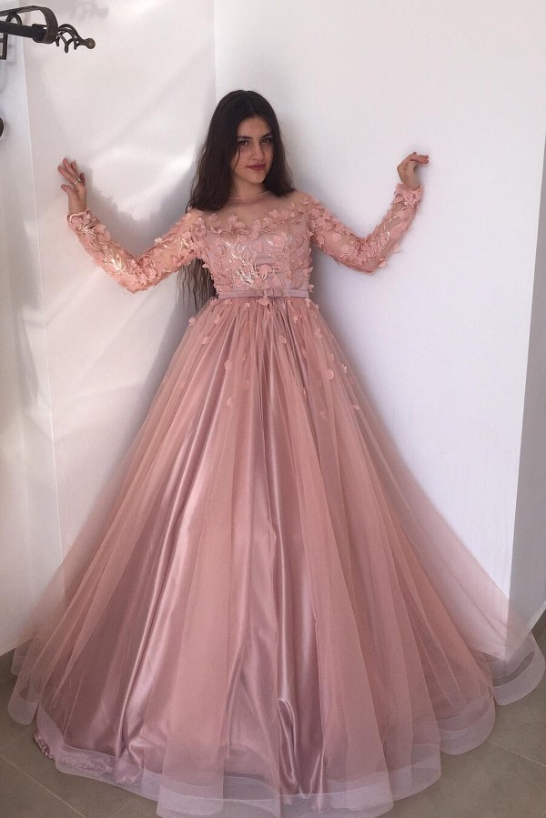 Mangas largas Floral Blow Dusty Pink Ball Gown Tulle Vestidos de baile