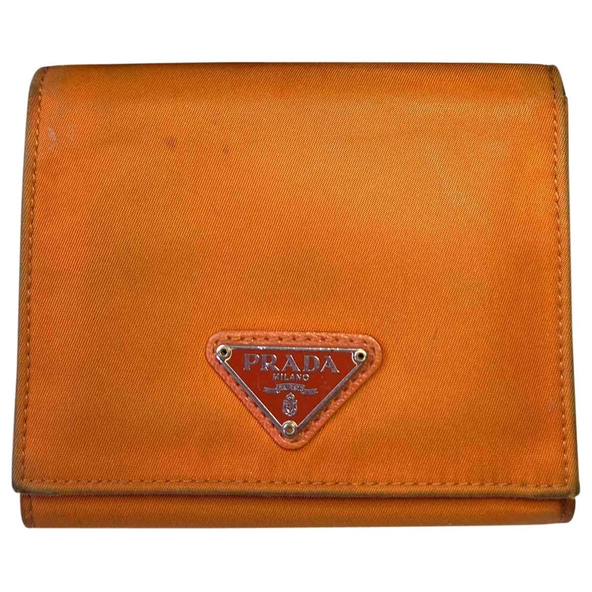 Prada Tessuto  Orange Cloth wallet for Women N
