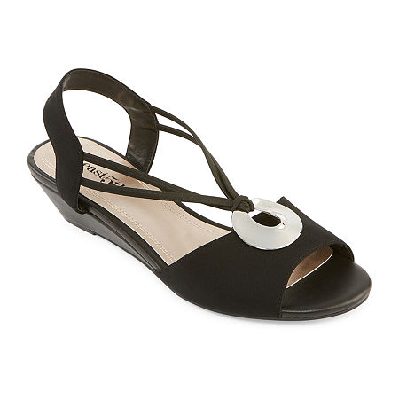 east 5th Womens Ravena Wedge Sandals, 7 Medium, Black