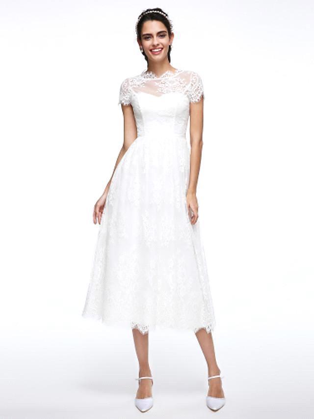 Robes de mariee A-ligne Jewel Neck Tea Longueur Dentelle Manches courtes Simple Illusion Casual Backless