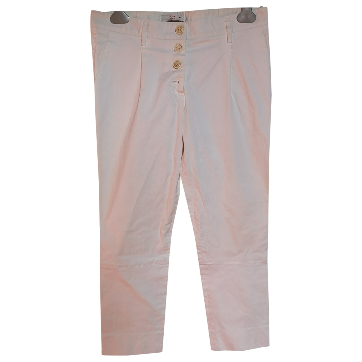 Prada \N White Cotton Trousers for Women 44 IT