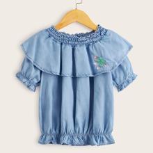 Toddler Girls Shirred Ruffle Trim Embroidery Denim Blouse