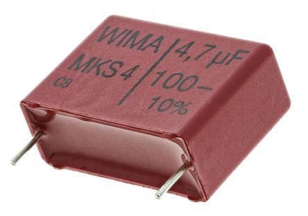 WIMA 4.7μF Polyester Capacitor PET 63 V ac, 100 V dc ±10%, Through Hole (5)