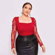 Plus Square Neck Tie Back Lace Gigot Sleeve Top
