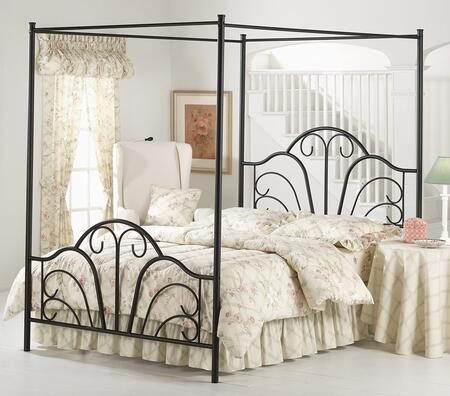 Dover 348BFPR Full Sized Bed with Headboard  Footboard  Canopy  Legs  Frame and Tubular Steel Construction Textured Black