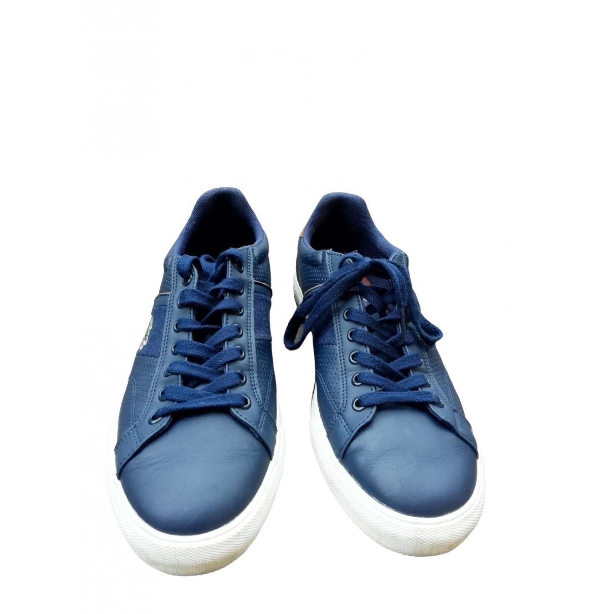 Lacoste - Baskets   pour femme en cuir - bleu