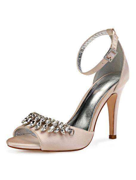 Milanoo Satin Wedding Shoes Purple Peep Toe Rhinestones Ankle Strap High Heel Bridal Shoes