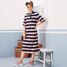 Patch Pocket Two Tone Striped Polo Dress