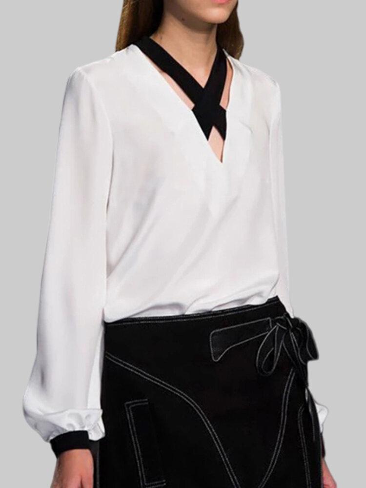 Crossover Bubble Sleeve V-neck Plus Size Blouse