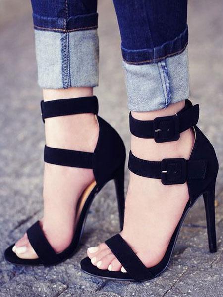 Milanoo Sandalias de tacon alto de gamuza de color negro con punta abierta y con hebilla y sandalias con zapatos para mujer