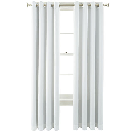 JCPenney Home Kathryn Room-Darkening Grommet-Top Curtain Panel, One Size , White