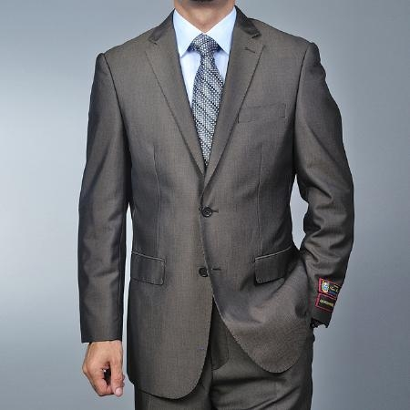 2 Button Brown Teakweave Suit Mens Cheap