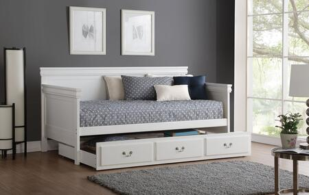 Bailee Collection 39100BTRN Daybed with Trundle Included  Medium-Density Fiberboard (MDF) and Pine Wood Construction in White