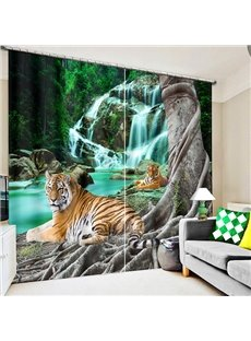3D Couple Tigers Crouching near the Waterfall Printed Custom Blackout Curtain for Living Room