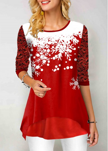 Snowflake Print Lace Panel Round Neck T Shirt - M
