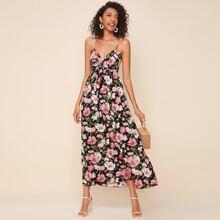Cami Kleid mit Band vorn und Blumen Muster