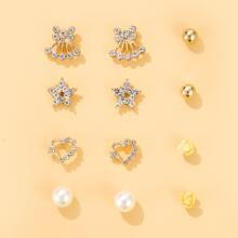 6pairs Rose Heart Stud Earrings