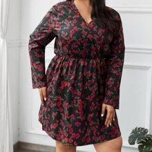 A-Linie Kleid mit Blumen Muster und V-Ausschnitt vorn