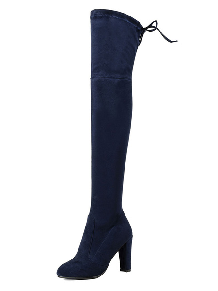 Milanoo Thigh High Boots Womens Stretch Satin Sanding Lace Up Round Toe Chunky Heel Over The Knee Boots
