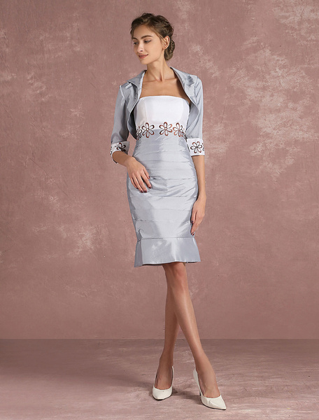 Milanoo Mother Of The Bride Dress Silver Taffeta Sheath Cocktail Dress 2 Piece Embroidered Short Party Dress